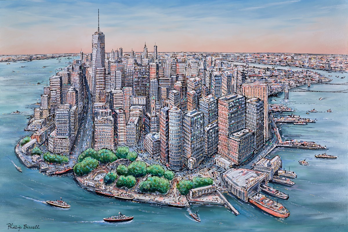Manhattan by phillip bissell -  sized 59x39 inches. Available from Whitewall Galleries